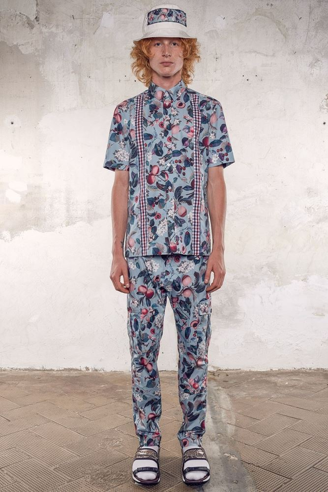Picture of Antonio Marras - Blue cotton shirt in cherry printed