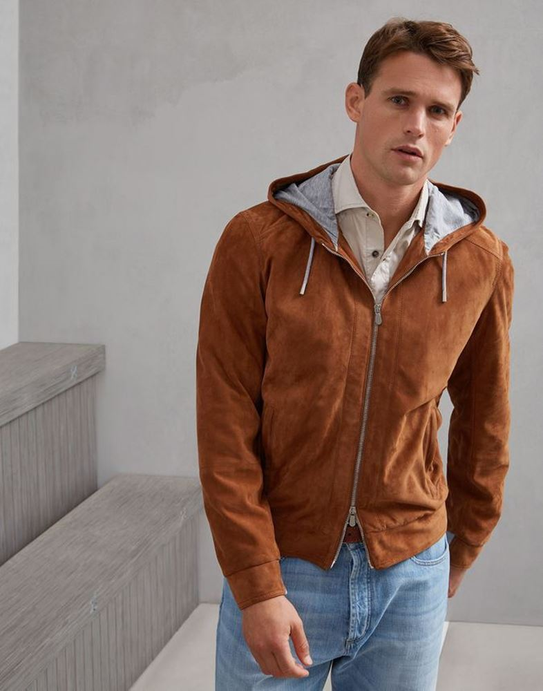 Picture of Brunello Cucinelli -  Lightweight water-resistant suede hoodie bomber jacket