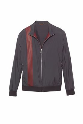 图片 Seraphin - Navy nylon & lamb leather jacket with vintage stripe