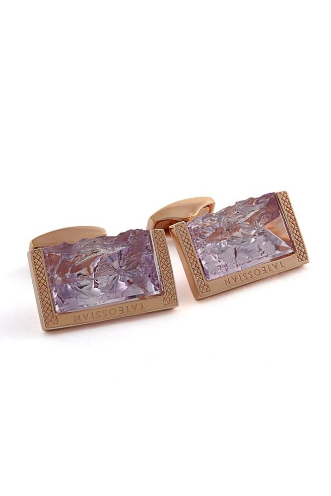圖片 Tateossian - Purple rough amethyst stone cufflinks