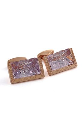 Picture of Tateossian - Purple rough amethyst stone cufflinks