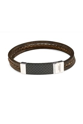 Picture of Tateossian - Black thick square leather bracelet