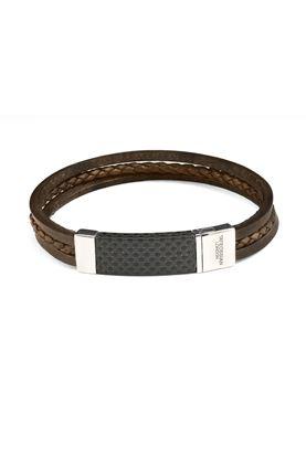 图片 Tateossian - Black thick square leather bracelet