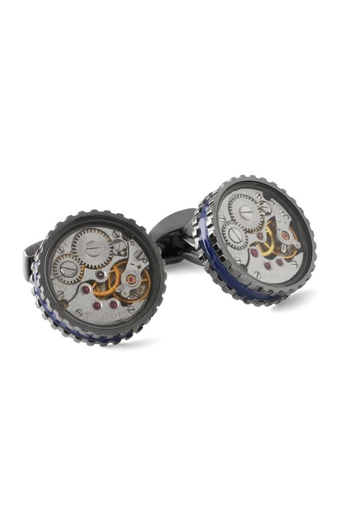 Picture of Tateossian - Gold gear vintage skeleton non-silver round cufflinks