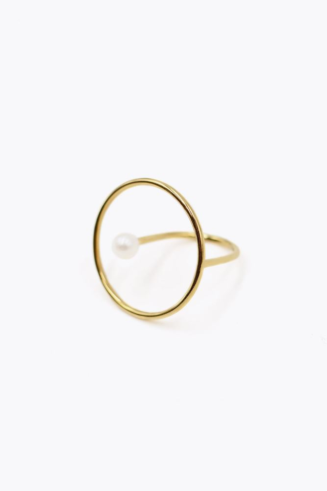 图片 De La Forge - White pearl aphrodite ring with gold plated 18k