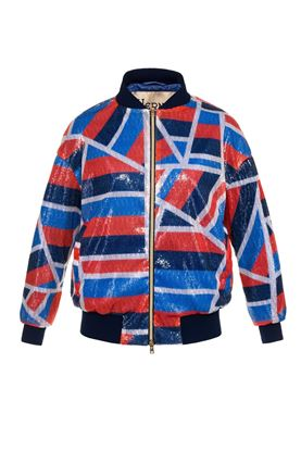 图片 Herno - Black varsity jacket with geometric print