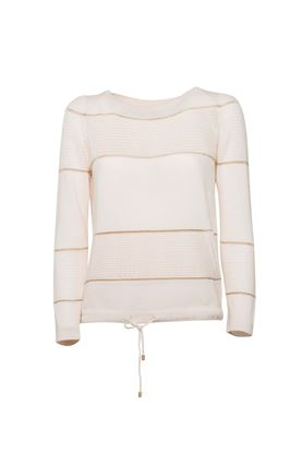 Picture of Lorena Antoniazzi - Lace stripe cashmere top