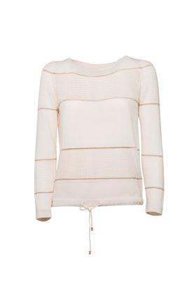图片 Lorena Antoniazzi - Lace stripe cashmere top