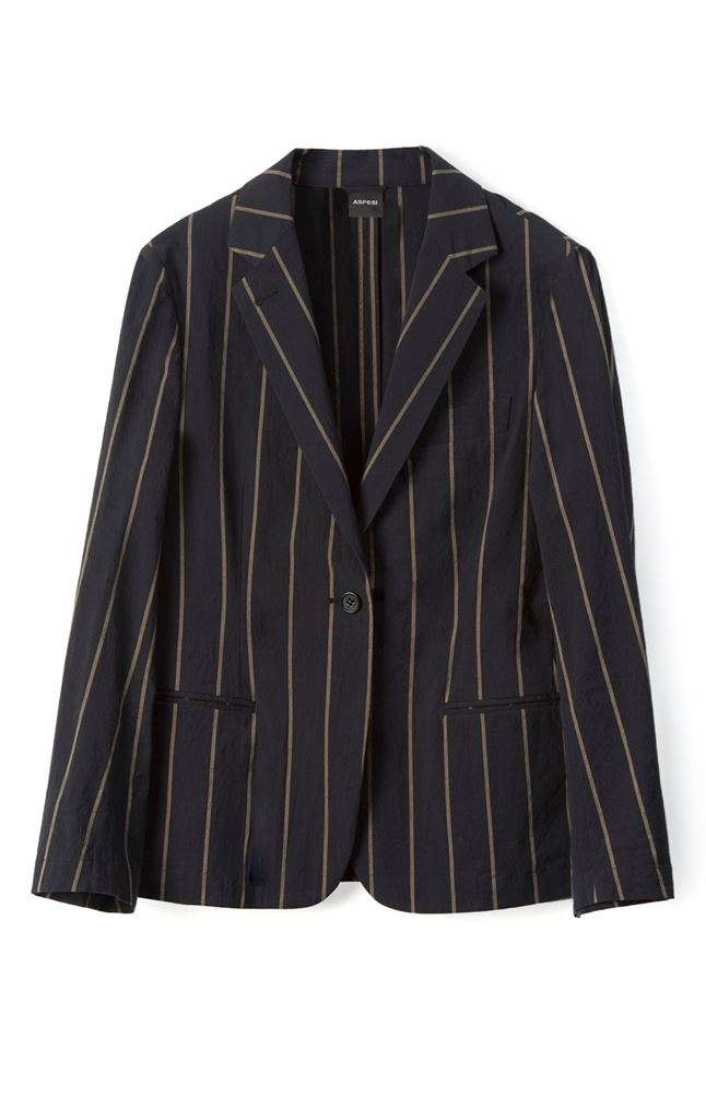 圖片 Aspesi - One button Contrast Striped Blazer