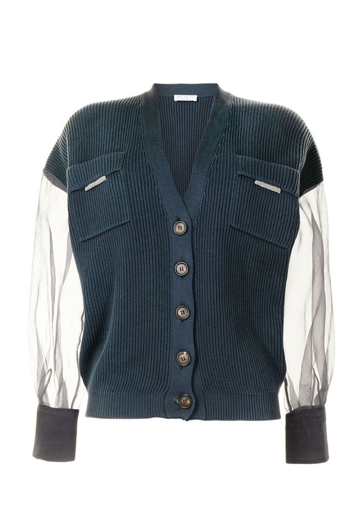 Picture of Brunello Cucinelli - Sheer-sleeve Cardigan