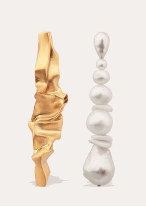 图片 Completedworks - Gold Vermeil, Pearl and Ceramic Earrings