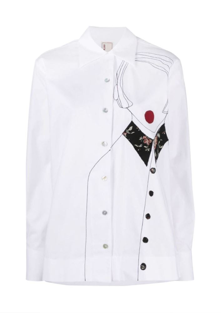 Picture of Antonio Marras - Embroidered Button-down Shirt