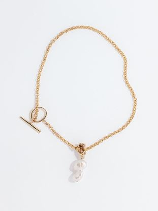 Picture of Baroque Pearl Drop Toggle Closure Chain Necklace