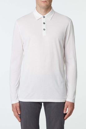 Picture of White Cotton-Cashmere Blend Polo Shirt