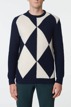 Picture of Blue and White Argyle Pattern Sweater