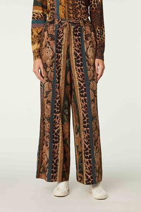 Picture of Multicolour Floral and Leopard Print Pants