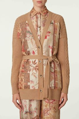 Picture of Brown and Red Floral Print Knit Jacket