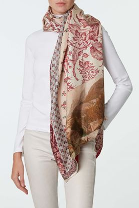 Picture of Red and White Floral Print Scarf