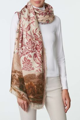 Picture of Red and White Floral Scarf