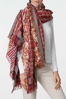 Picture of Multicolour Check Floral Print Scarf
