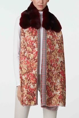 Picture of Red Floral Fur Scarf