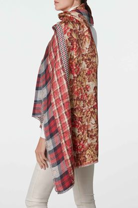 Picture of Red Check and Floral Print Scarf