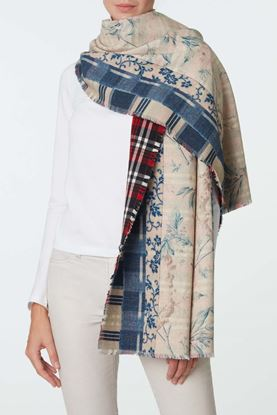 Picture of Blue and White Floral Print Scarf