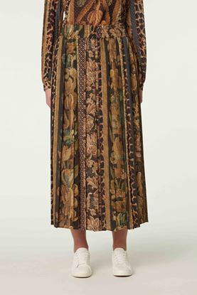 Picture of Multicolour Floral and Leopard Print Skirt
