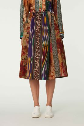 Picture of Multicolour Geometric and Floral Print Skirt