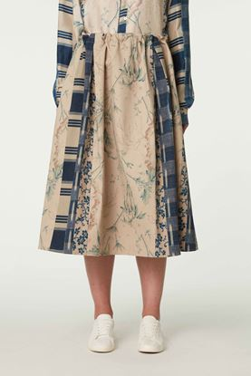 Picture of Blue and Beige Floral Print Skirt