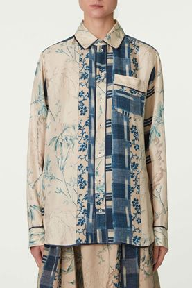 Picture of Blue and Beige Floral Print Silk Shirt