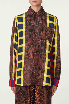 Picture of Multicolour Geometric  and Check Print Silk Shirt