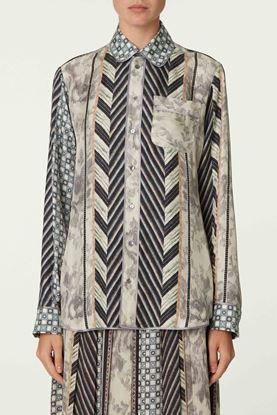 Picture of Multicolour Geometric Print Silk Shirt