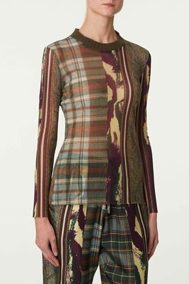 Picture of Multicolour Check and Ethnic Print Top