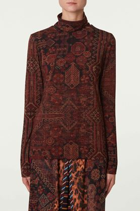 Picture of Black and Red Geometric Print Turtleneck Top