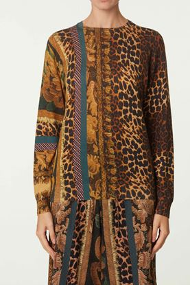 Picture of Brown Floral and Leopard Print Top