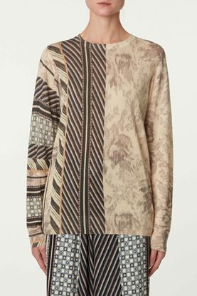 Picture of Multicolour Floral and Herringbone Print Top