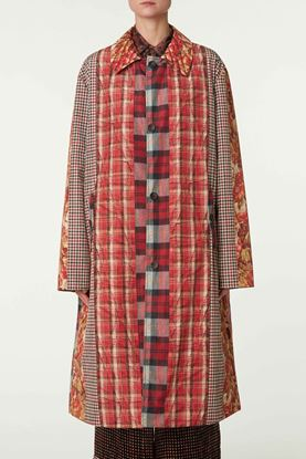 Picture of Multicolour Check and Floral Print Long Jacket