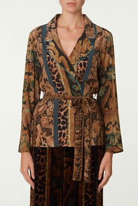 Picture of Brown Floral and Leopard Print Jacket