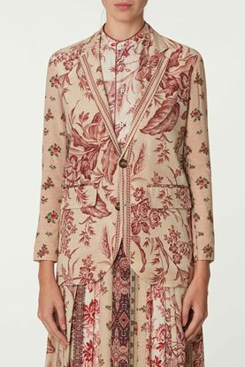 Picture of Red and Beige Floral Print Blazer