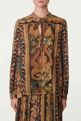 Picture of Multicolour Floral and Leopard Print Blouse