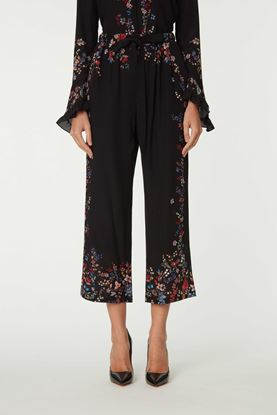 Picture of Black Floral Silk Pants