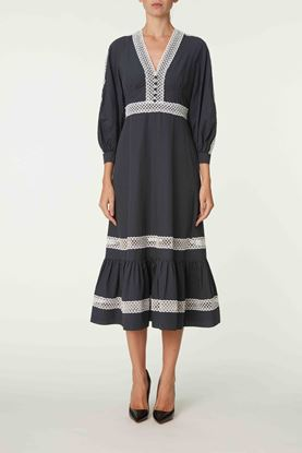 Picture of Grey Polka Dot Long Sleeve Dress