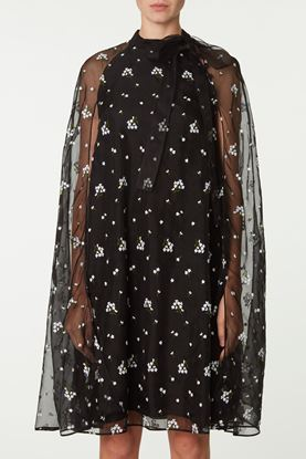 Picture of Black and White Floral Print Organza Dress