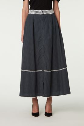 Picture of Grey Polka Dot Lace Trim Skirt