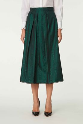 Picture of Green Wood Grain Effect Pleat Skirt