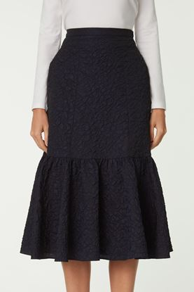 Picture of Navy Texture Cloque Skirt