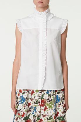 Picture of White Pattern Jacquard Sleeveless Ruffle Shirt