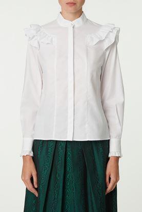 Picture of White Pattern Jacquard Ruffle Shirt