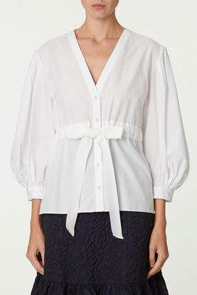 Picture of White Pattern Jacquard Blouse
